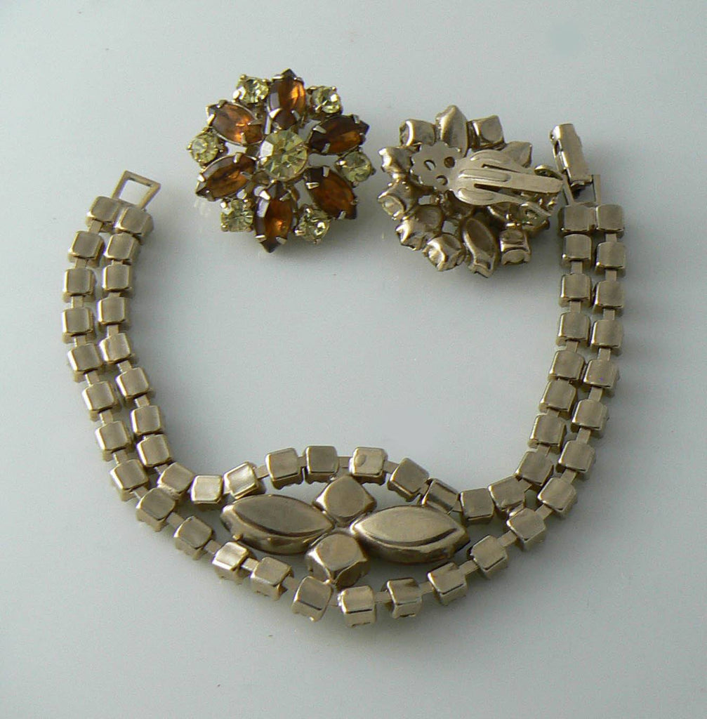 RootBeer Rhinestone Bracelet And Earrings - Vintage Lane Jewelry