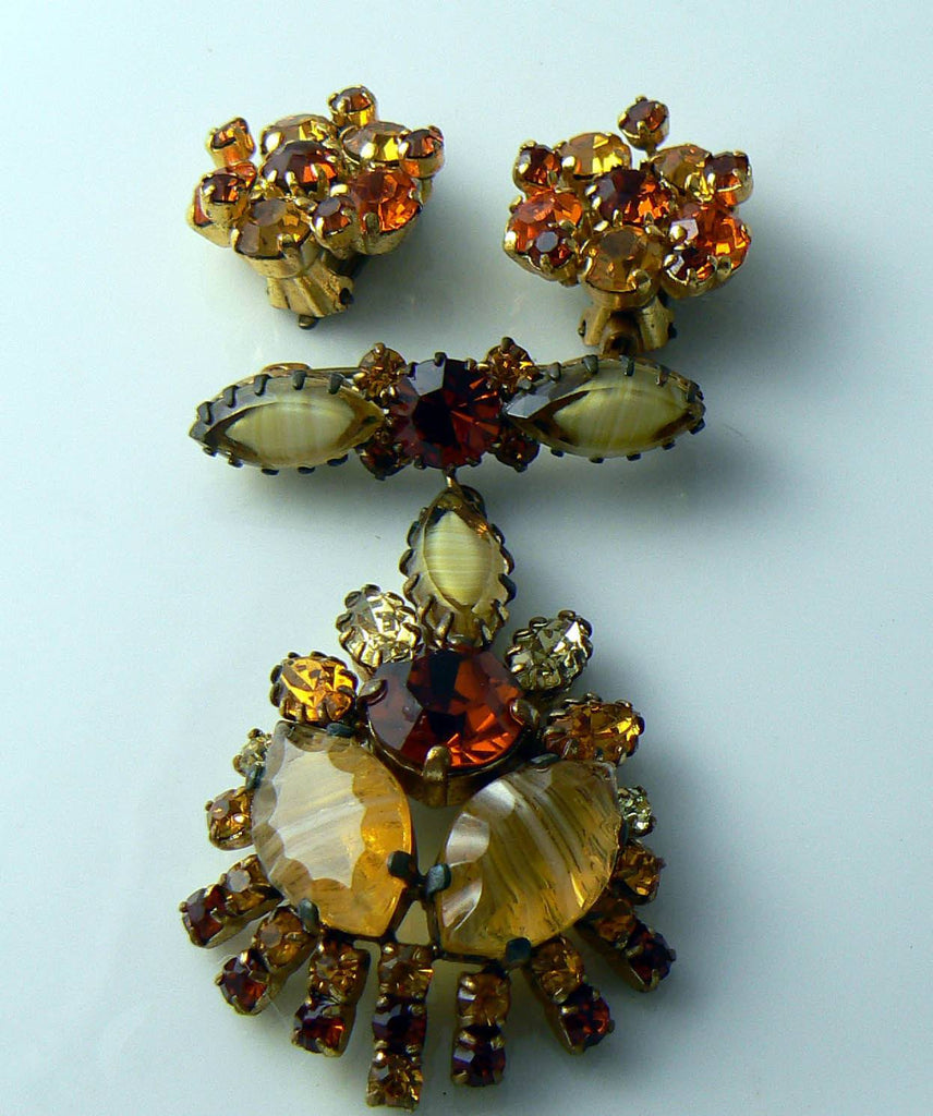 Vintage Topaz And Citrine Givre Demi Parure - Vintage Lane Jewelry