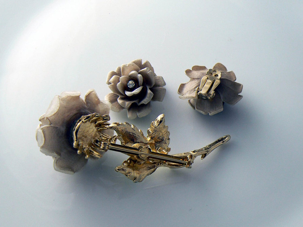 Vintage Set Of Rose Rhinestone Brooch And Earrings - Vintage Lane Jewelry
