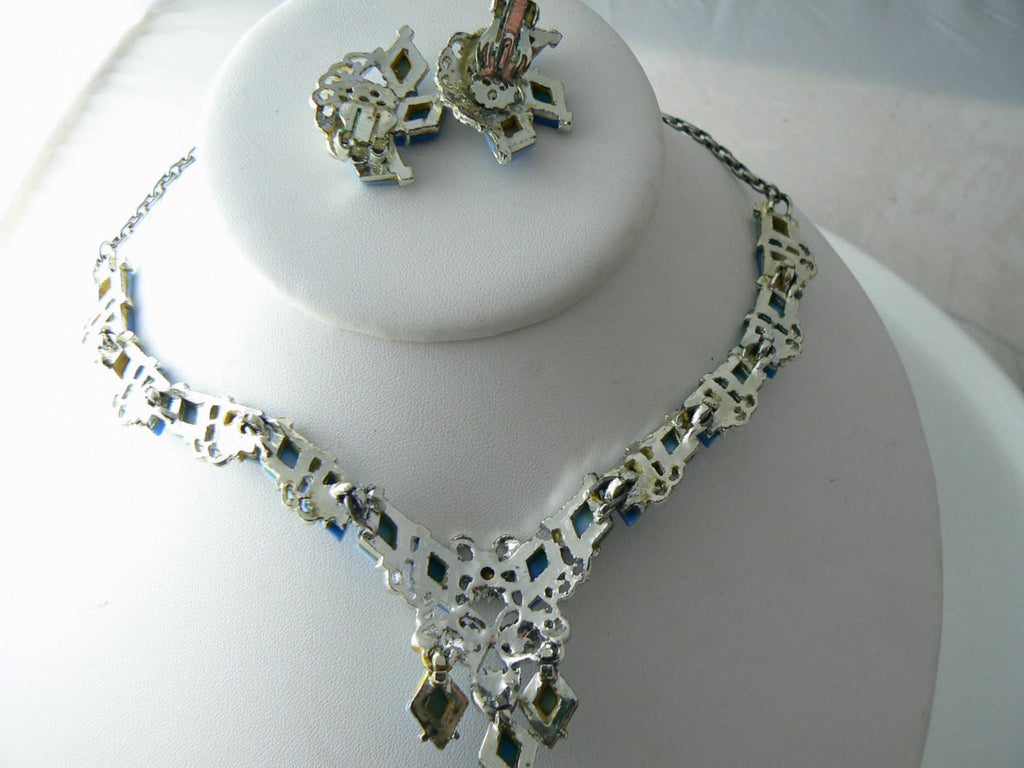 Elegant Thermoset Rhinestone Necklace And Earring Set - Vintage Lane Jewelry