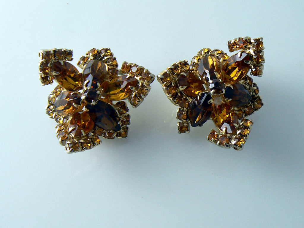 Vintage Chunky Topaz And Amber Bracelet And Earrings Set - Vintage Lane Jewelry - 3