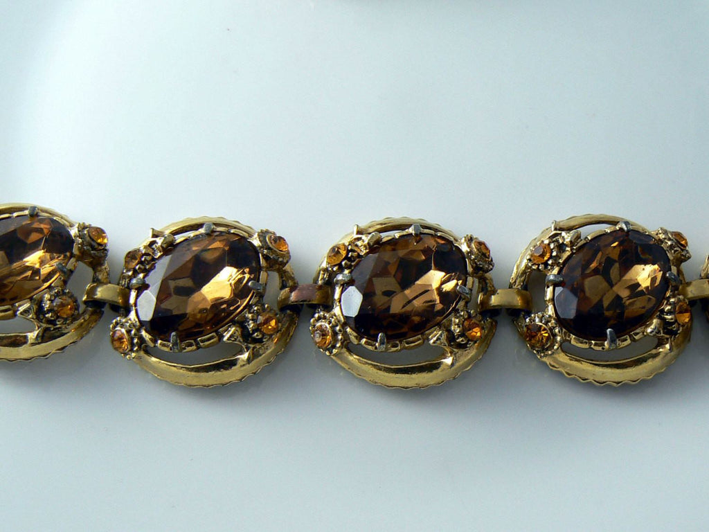 Vintage Chunky Topaz And Amber Bracelet And Earrings Set - Vintage Lane Jewelry - 2