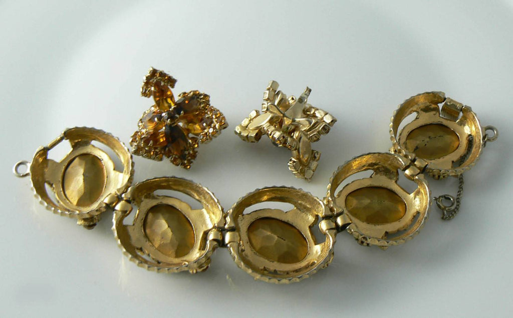 Vintage Chunky Topaz And Amber Bracelet And Earrings Set - Vintage Lane Jewelry