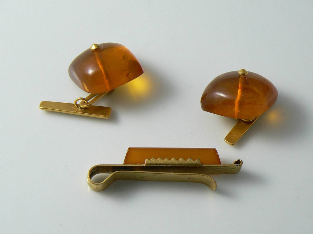 Old Russian Soviet USSR Genuine Baltic Amber Cufflinks And Tie Clip - Vintage Lane Jewelry