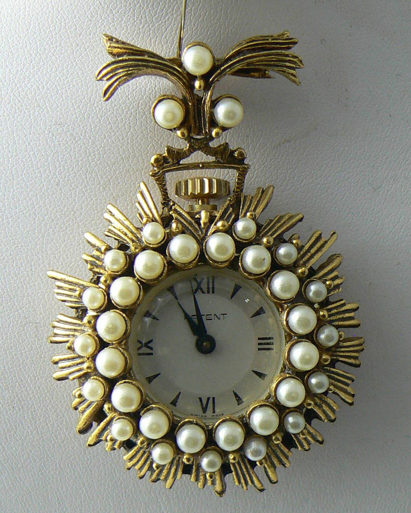 Vintage Patent Faux Pearl Watch Brooch - Vintage Lane Jewelry - 2