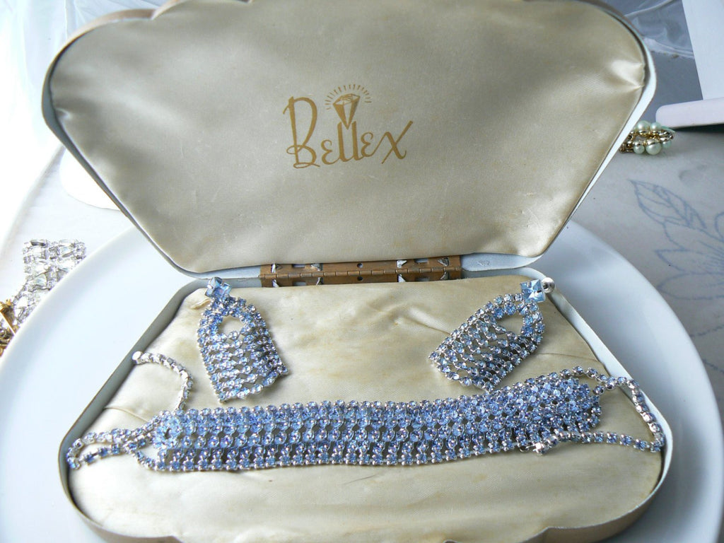 Vintage Bellex Blue Rhinestone Choker And Earrings Set In Original Box - Vintage Lane Jewelry