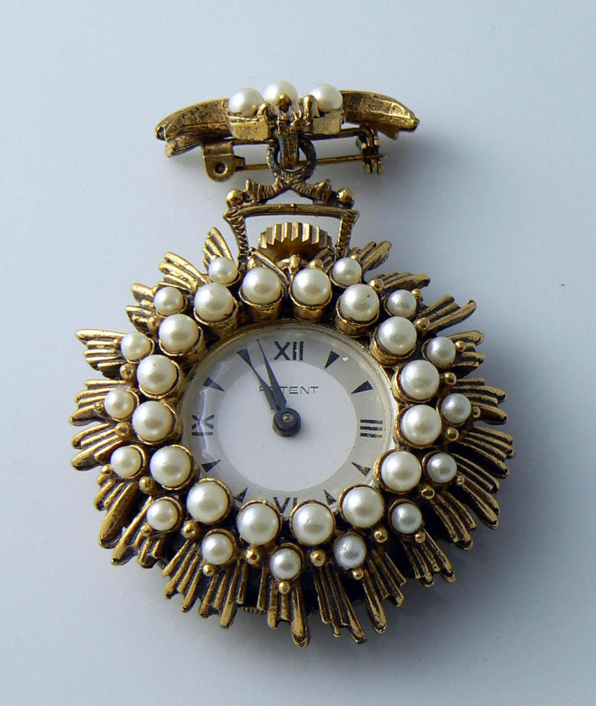 Vintage Patent Faux Pearl Watch Brooch - Vintage Lane Jewelry