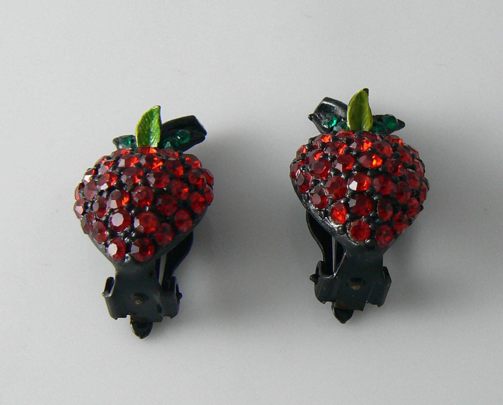 Hollycraft Figural Strawberry Pave Rhinestone Earrings - Vintage Lane Jewelry