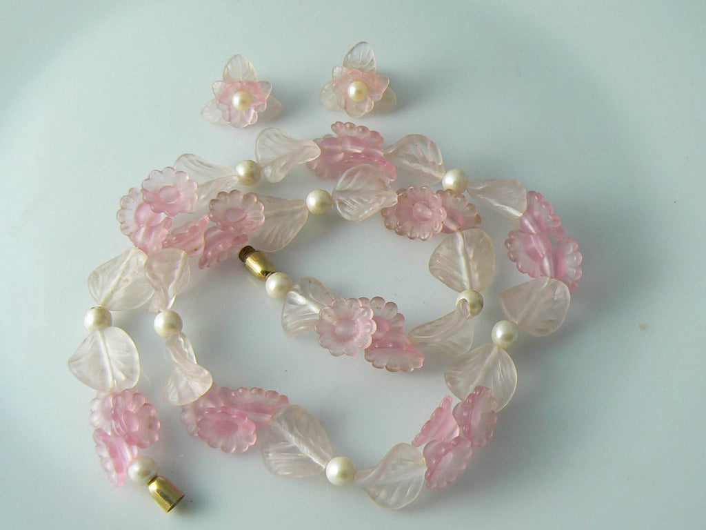 Pink White Frosted Satin Lucite And Faux Pearl Necklace Earrings Set - Vintage Lane Jewelry - 1