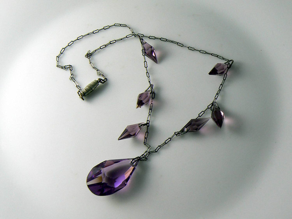 Art Deco necklace with purple faceted crystals - Vintage Lane Jewelry