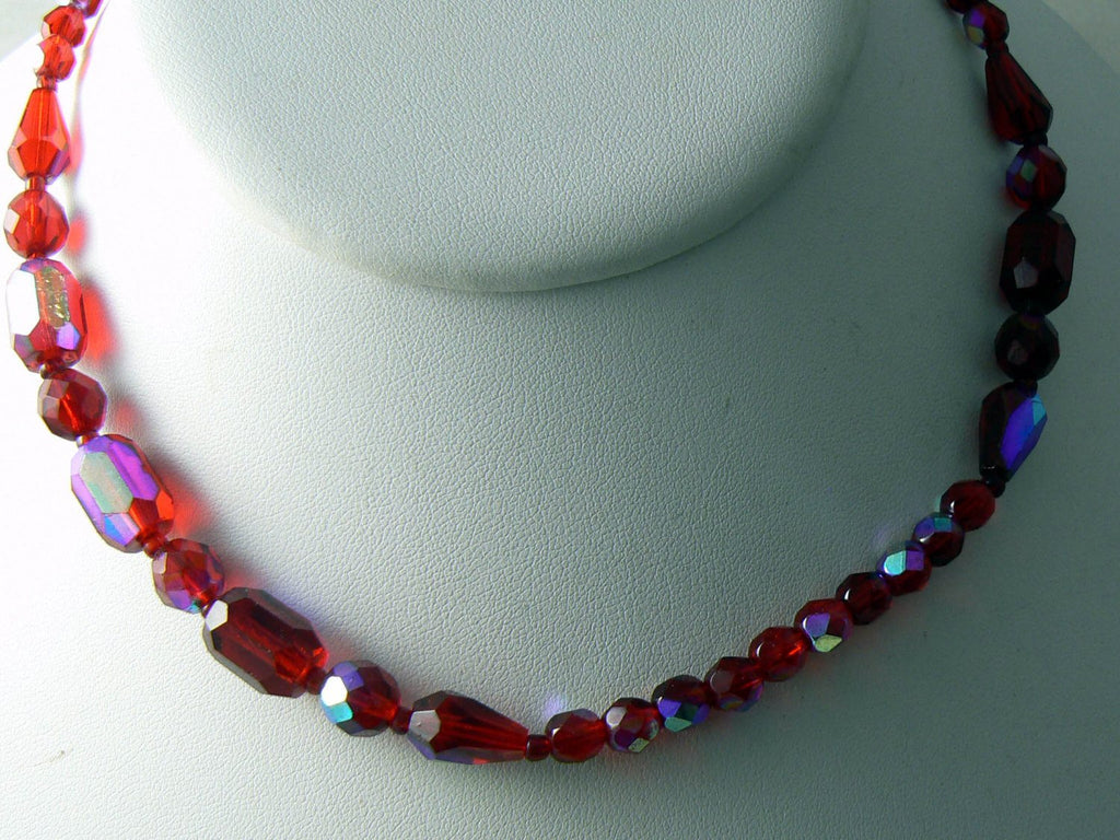 Vintage Carnival Glass Iridescent Red Glass Necklace - Vintage Lane Jewelry