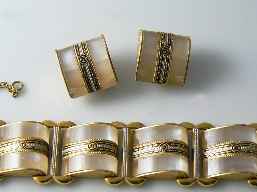 Gold Tone Lucite Banded Bracelet And Clip Earring Set - Vintage Lane Jewelry