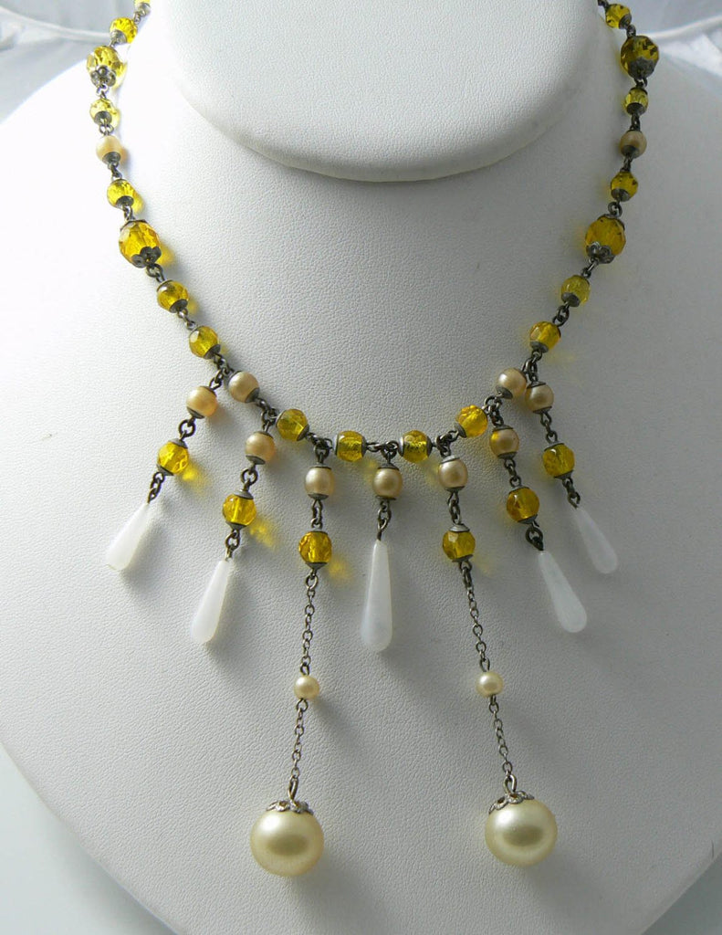 Vintage Golden Yellow Chandelier Style Necklace - Vintage Lane Jewelry