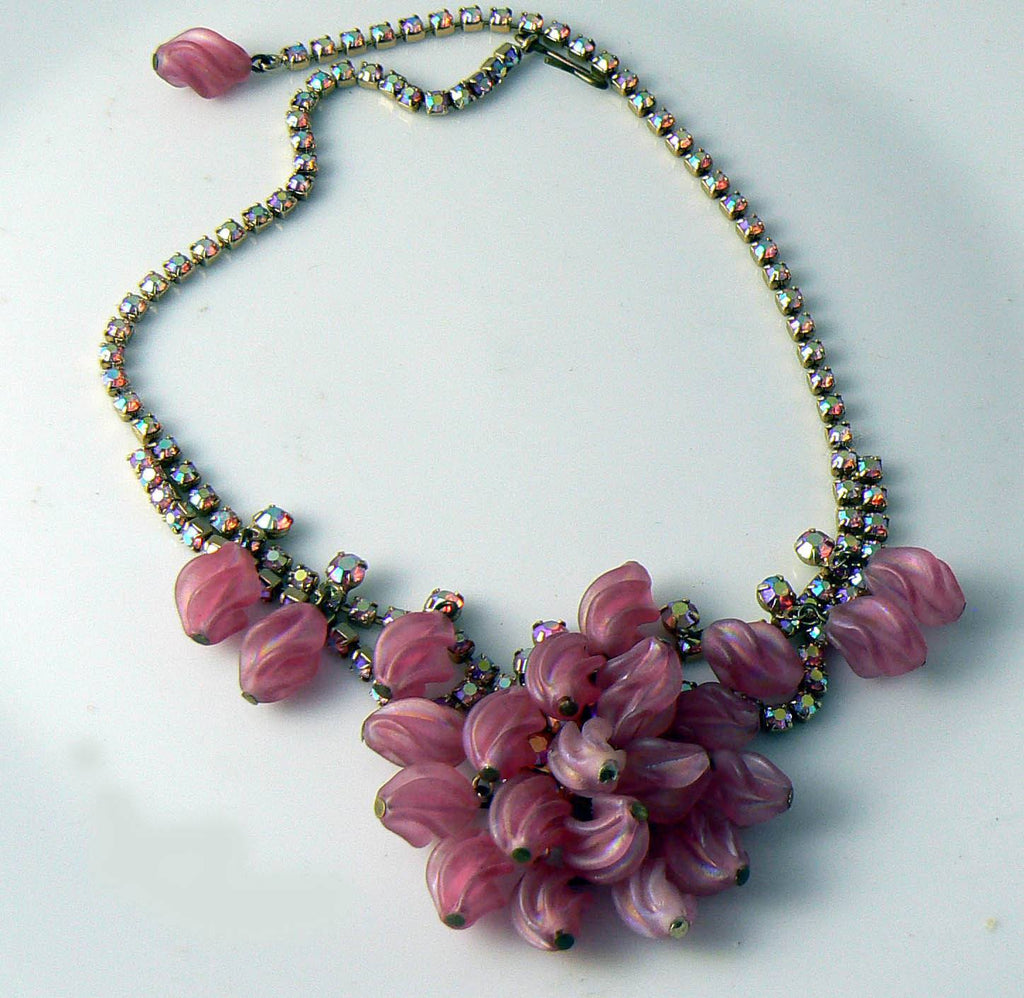 Fantastic D&e Juliana Drippy Bib Pink Necklace - Vintage Lane Jewelry