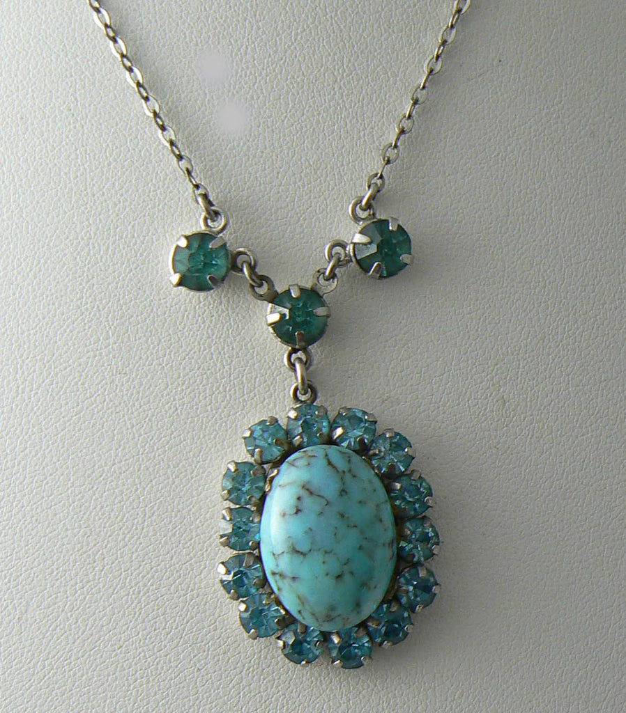 Vintage Turquoise And Rhinestone Necklace - Vintage Lane Jewelry