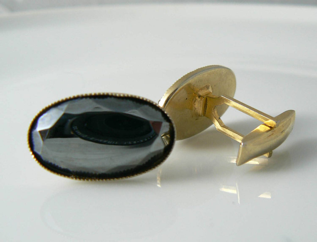 Vintage Men's Glass Cufflinks - Vintage Lane Jewelry