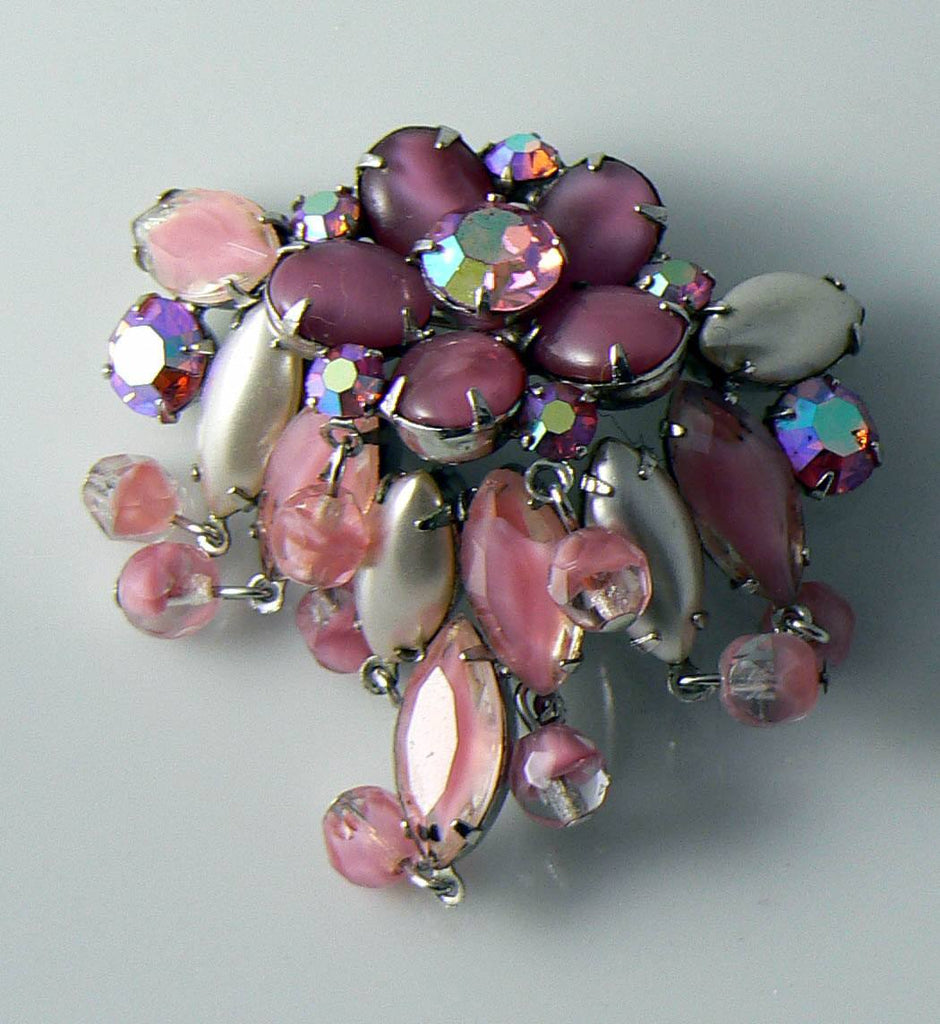 Vintage Juliana Pink Givre Rhinestone And Glass Brooch - Vintage Lane Jewelry