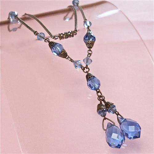 Pretty Vintage Czech Art Deco Blue Glass Drop Necklace - Vintage Lane Jewelry