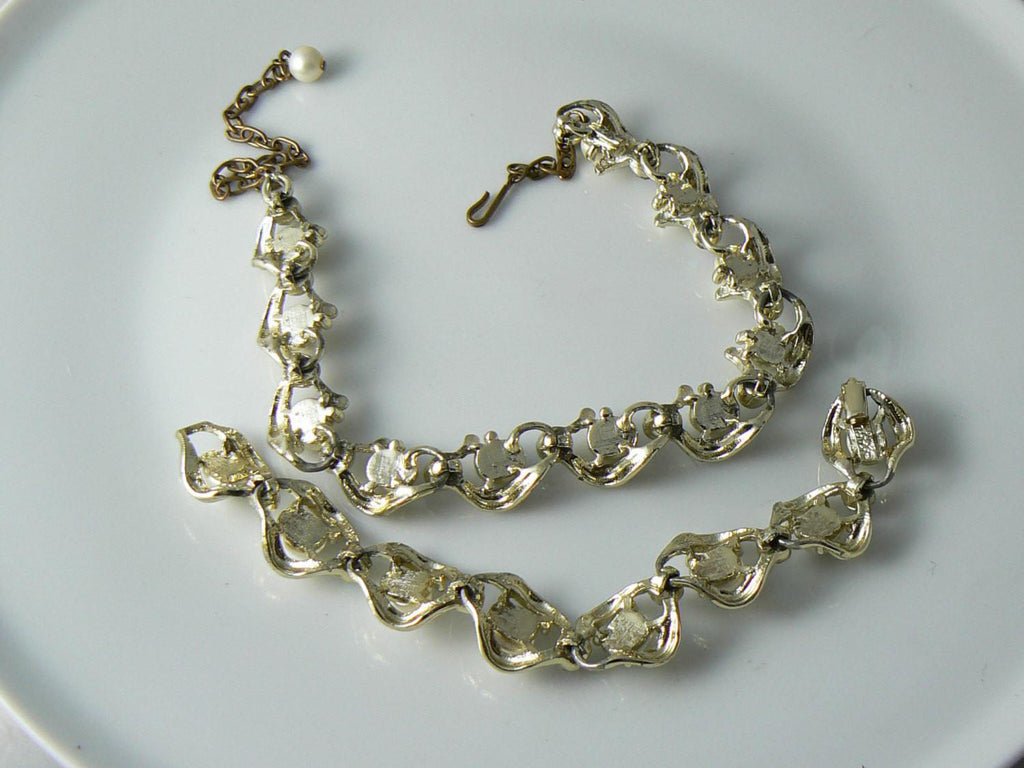 Karu Arke Ab Rhinestone And Faux Pearl Necklace And Bracelet Set - Vintage Lane Jewelry