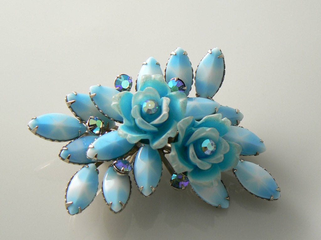 Vintage 1960's Sky Blue Roses And Milk Glass Star Sapphire Brooch - Vintage Lane Jewelry - 1