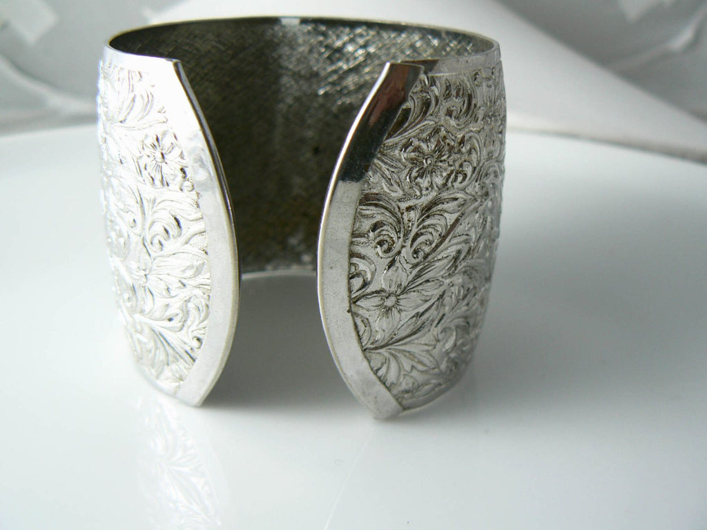 Sara Coventry Chunky Silver Tone Repousse Floral Cuff - Vintage Lane Jewelry