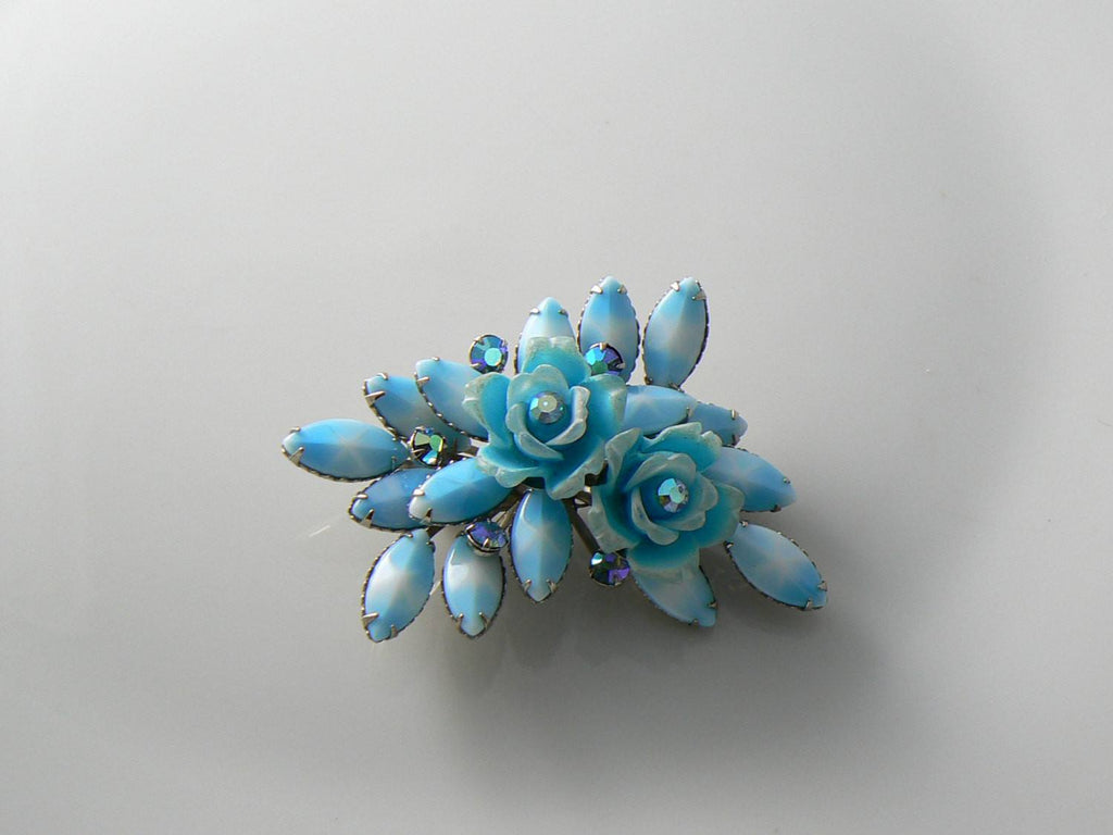 Vintage 1960's Sky Blue Roses And Milk Glass Star Sapphire Brooch - Vintage Lane Jewelry