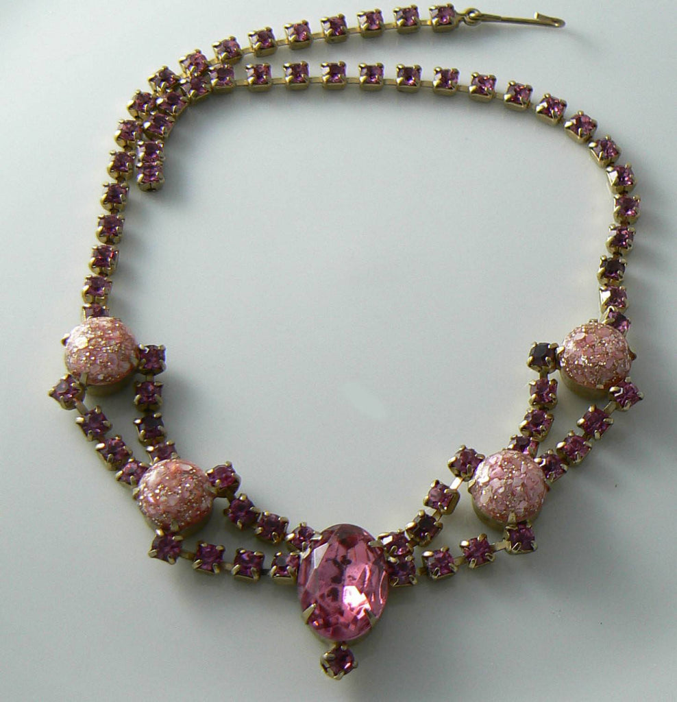 Vintage Rhinestone And Lucite Confetti Pink Necklace - Vintage Lane Jewelry