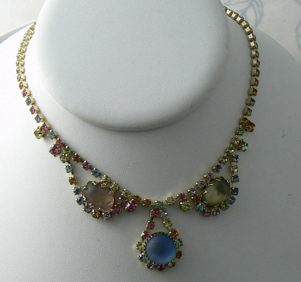Juliana Style Soft Pastel Rhinestone Necklace - Vintage Lane Jewelry