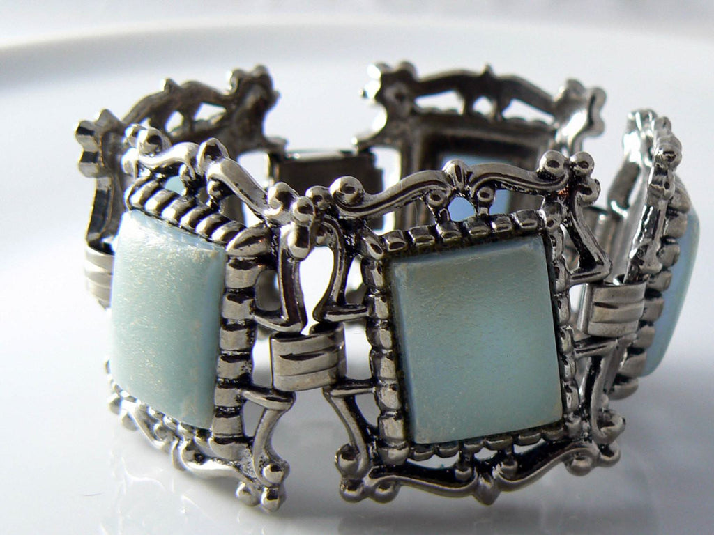 Chunky Ornate Lucite Silver Tone Bracelet - Vintage Lane Jewelry