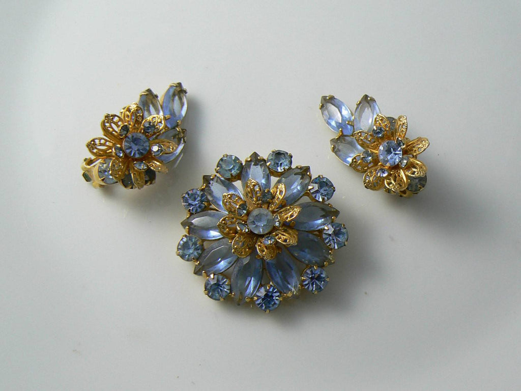 Baby Blue Rhinestone Brooch With Matching Clip Earrings - Vintage Lane Jewelry