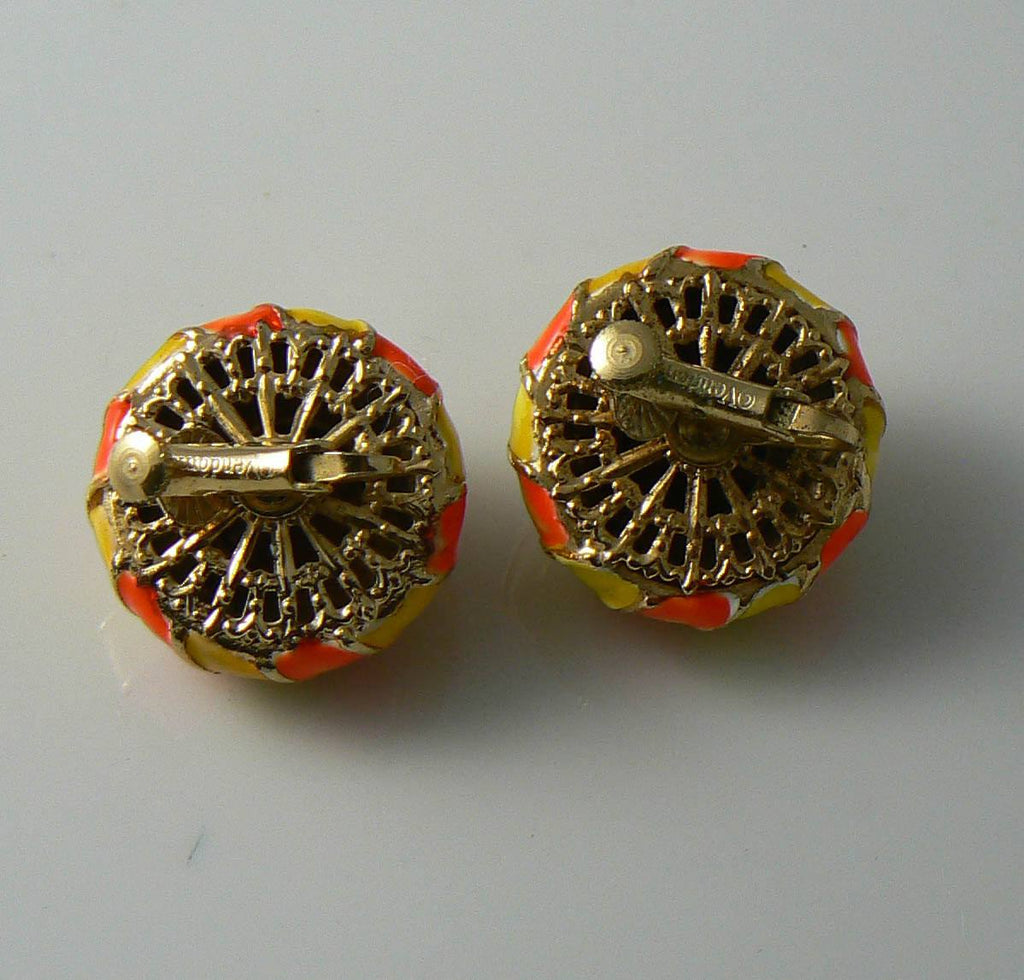 Vintage Designer Signed Vendome Clip On Earrings - Vintage Lane Jewelry