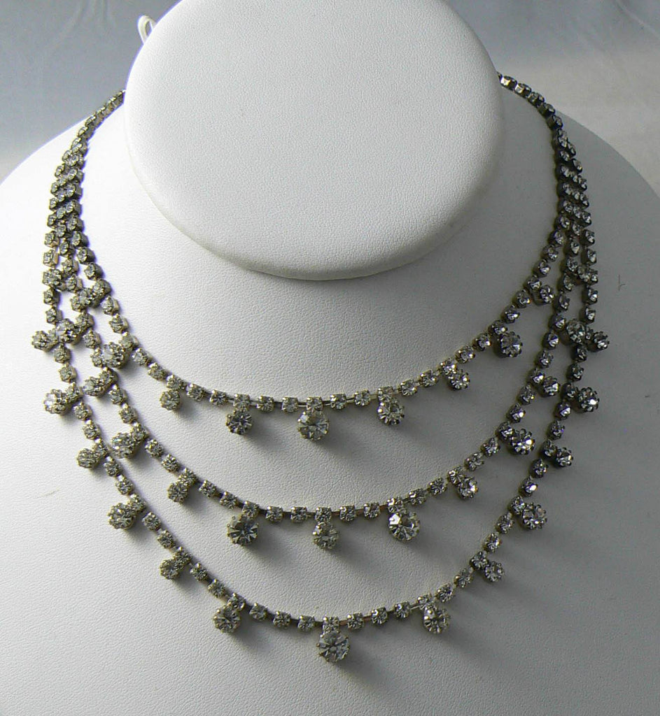 Vintage Triple Strand Prong Set Rhinestone Necklace - Vintage Lane Jewelry - 1