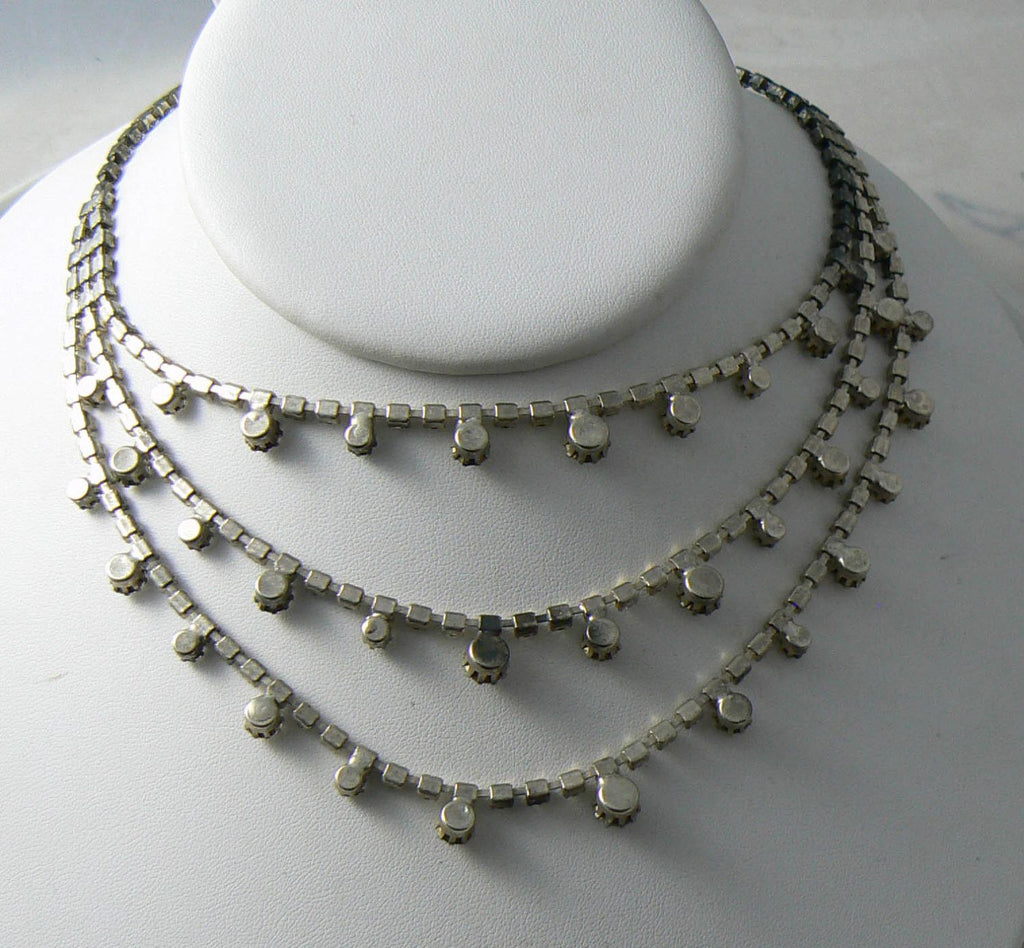 Vintage Triple Strand Prong Set Rhinestone Necklace - Vintage Lane Jewelry - 3