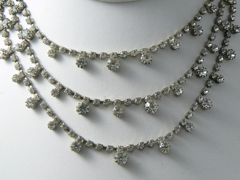 Vintage Triple Strand Prong Set Rhinestone Necklace - Vintage Lane Jewelry