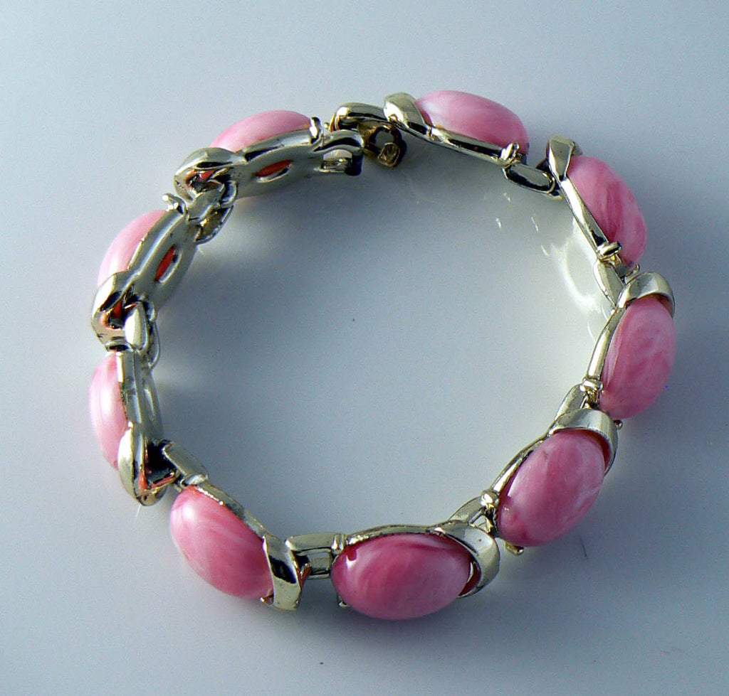 Signed Coro Pink Thermoset Bracelet - Vintage Lane Jewelry