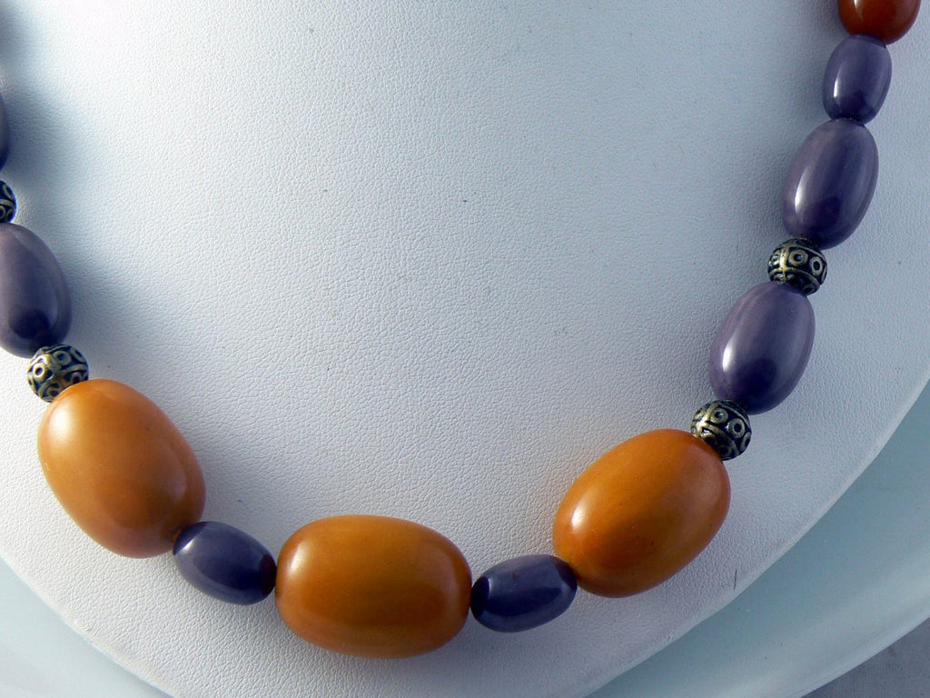 Antique Butterscotch And Lilac Bakelite Necklace - Vintage Lane Jewelry