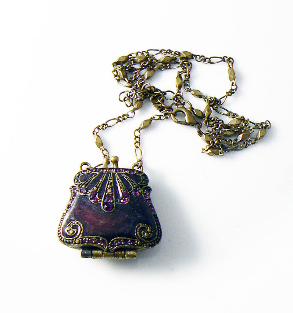 Signed Vclm Purse Pendant Rhinestones Oxblood Enamel Gold Tone - Vintage Lane Jewelry - 1