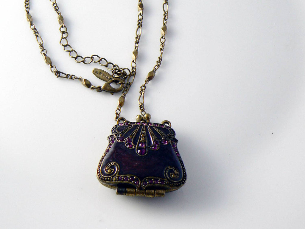 Signed Vclm Purse Pendant Rhinestones Oxblood Enamel Gold Tone - Vintage Lane Jewelry - 3