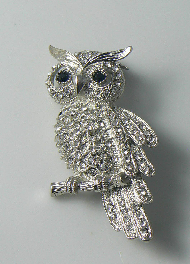Vintage Diamante Owl Brooch - Vintage Lane Jewelry