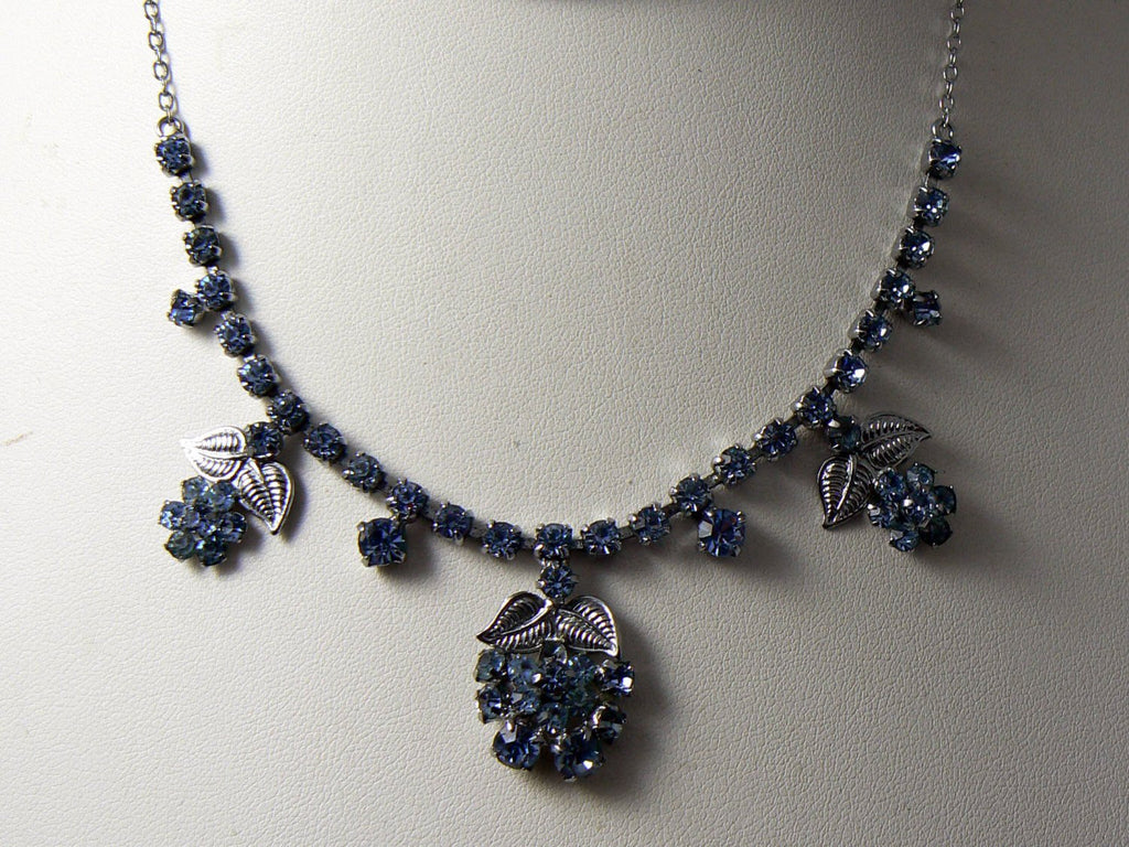 Vintage Sparkling Blue Rhinestone Necklace - Vintage Lane Jewelry