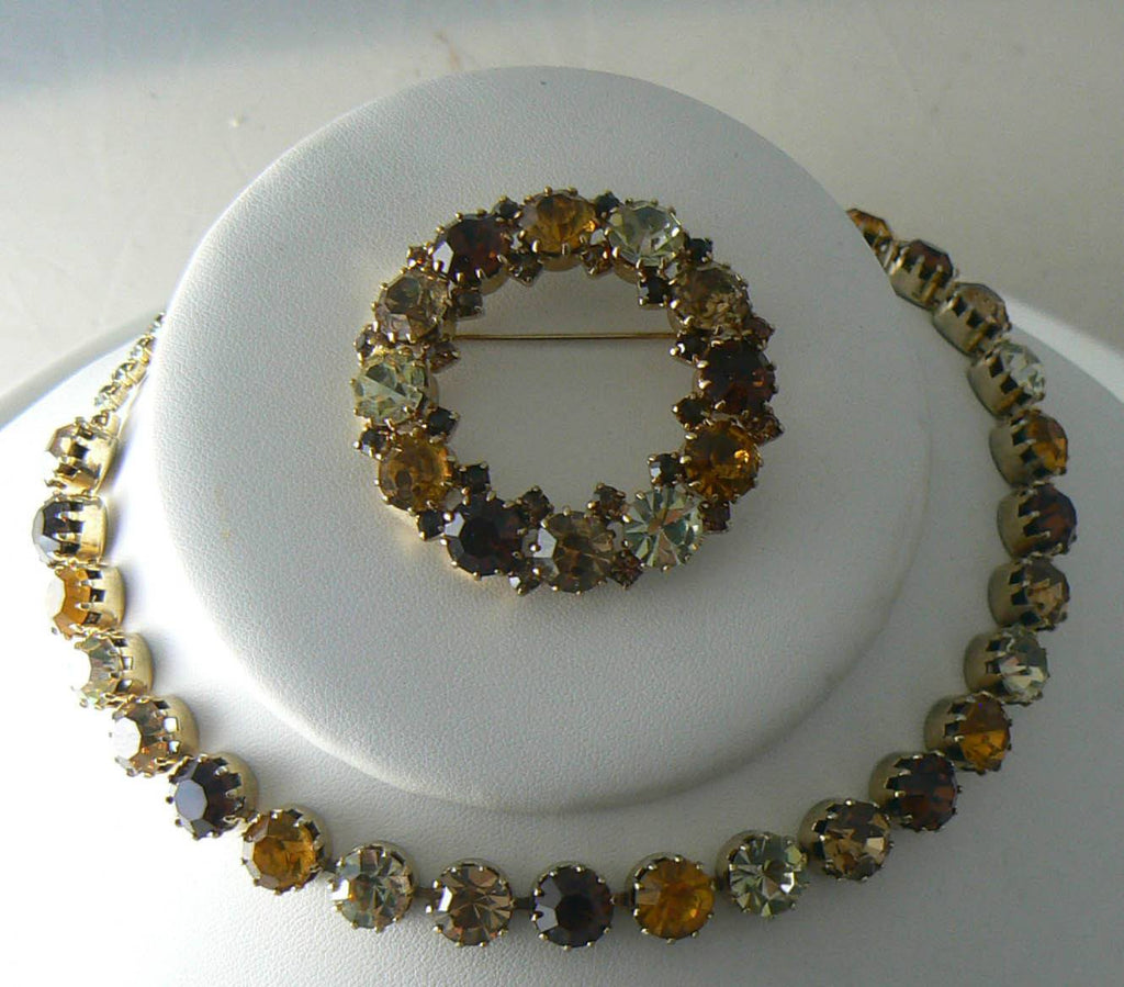 Vintage Karu Arke 3 Piece Prong Set Rhinestone Set - Vintage Lane Jewelry