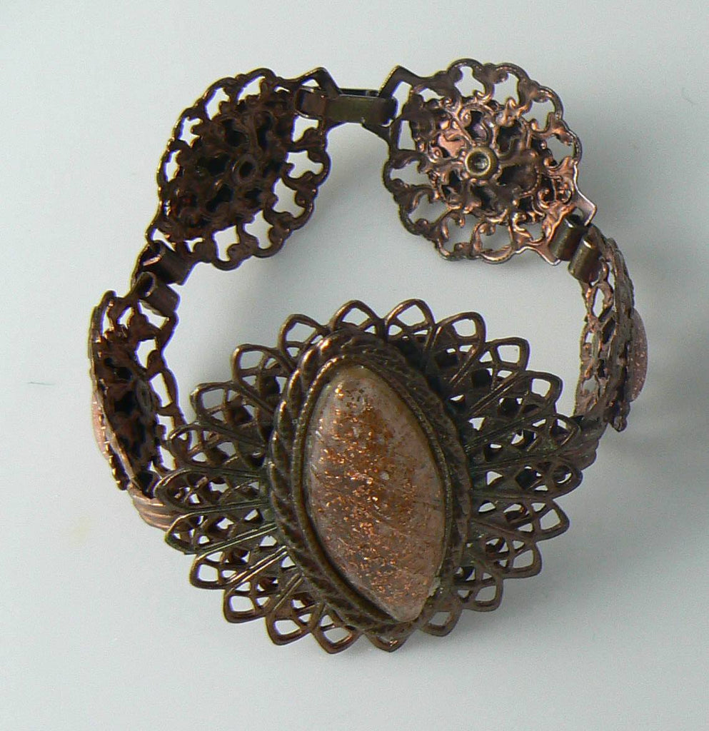 Vintage Copper Filigree Medallion Lucite Glitter Stone Demi - Vintage Lane Jewelry