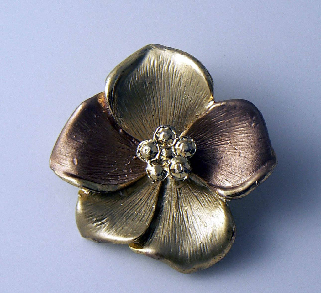 Tri-tone Gold Dogwood Flower Brooch Or Pendant - Vintage Lane Jewelry
