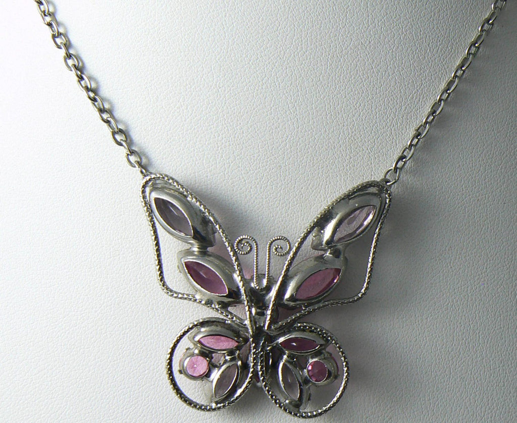 Vintage Juliana Style Pink And Purple Rhinestone Butterfly Necklace - Vintage Lane Jewelry - 3