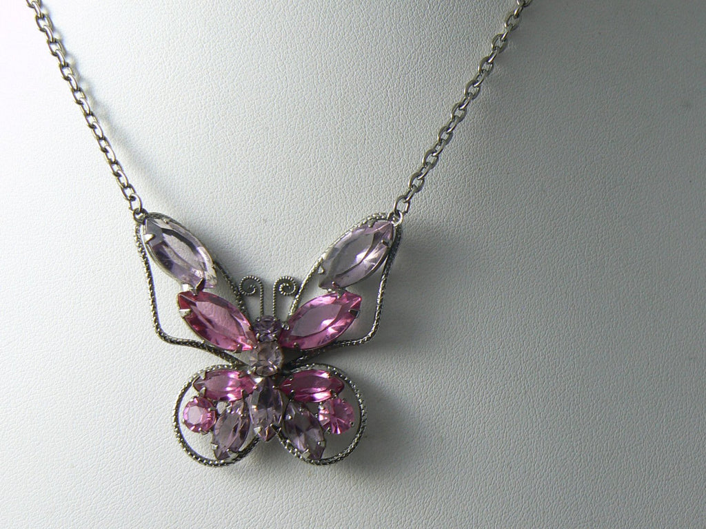 Vintage Juliana Style Pink And Purple Rhinestone Butterfly Necklace - Vintage Lane Jewelry