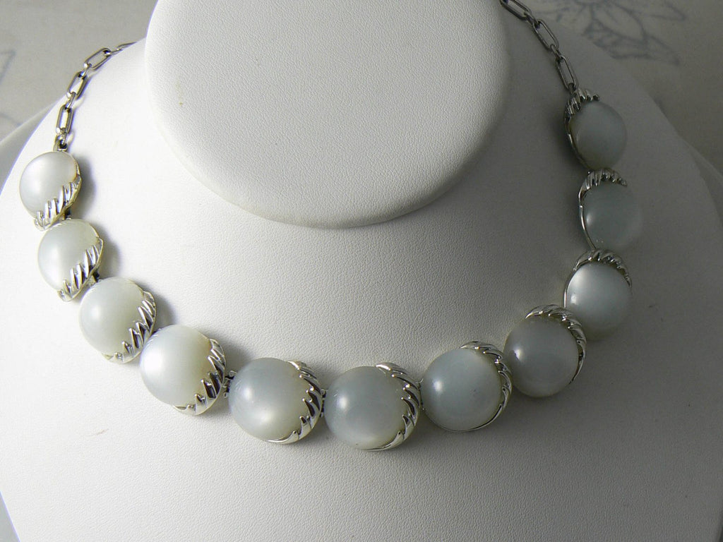 Signed Coro Faux Moonstone Cabochon Choker Necklace - Vintage Lane Jewelry