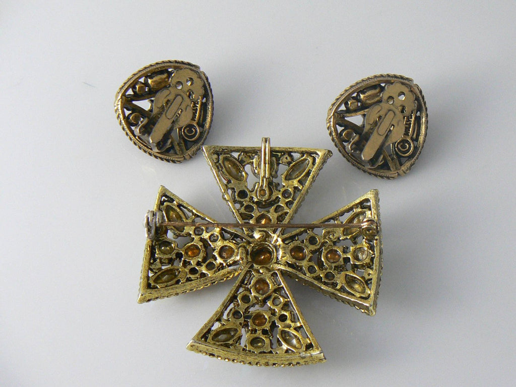 Vintage Hollycraft Earrings And Married Maltese Cross Brooch - Vintage Lane Jewelry