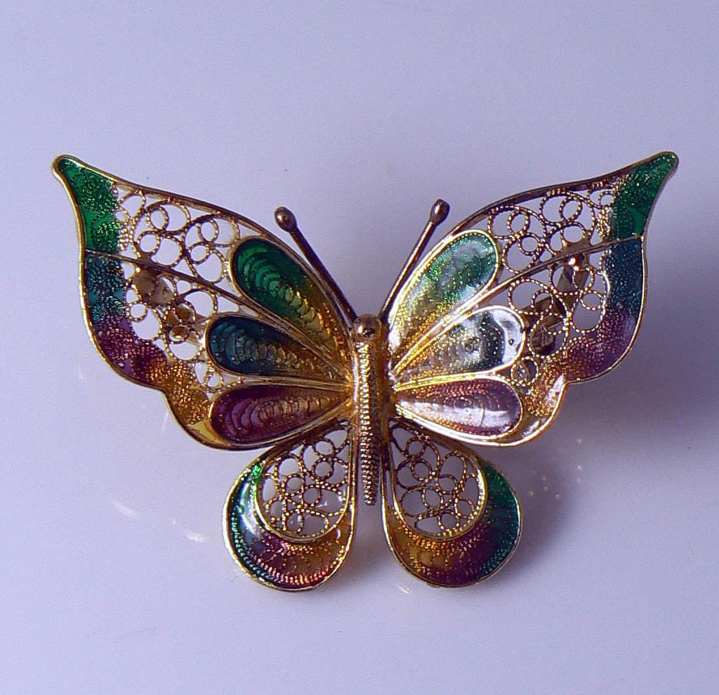 Beautiful Vintage Italian Gold Washed Sterling Silver Filigree And Enamel Butterfly Brooch - Vintage Lane Jewelry