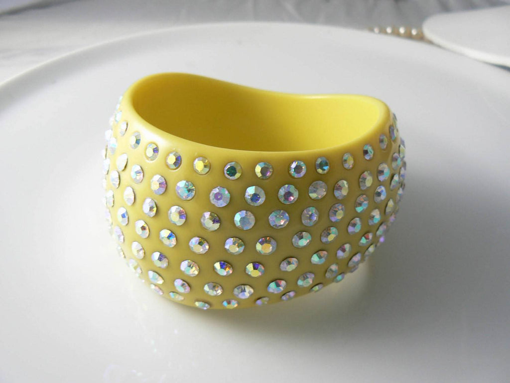 Huge Vintage Pale Yellow Lucite Ab Rhinestone Bangle - Vintage Lane Jewelry