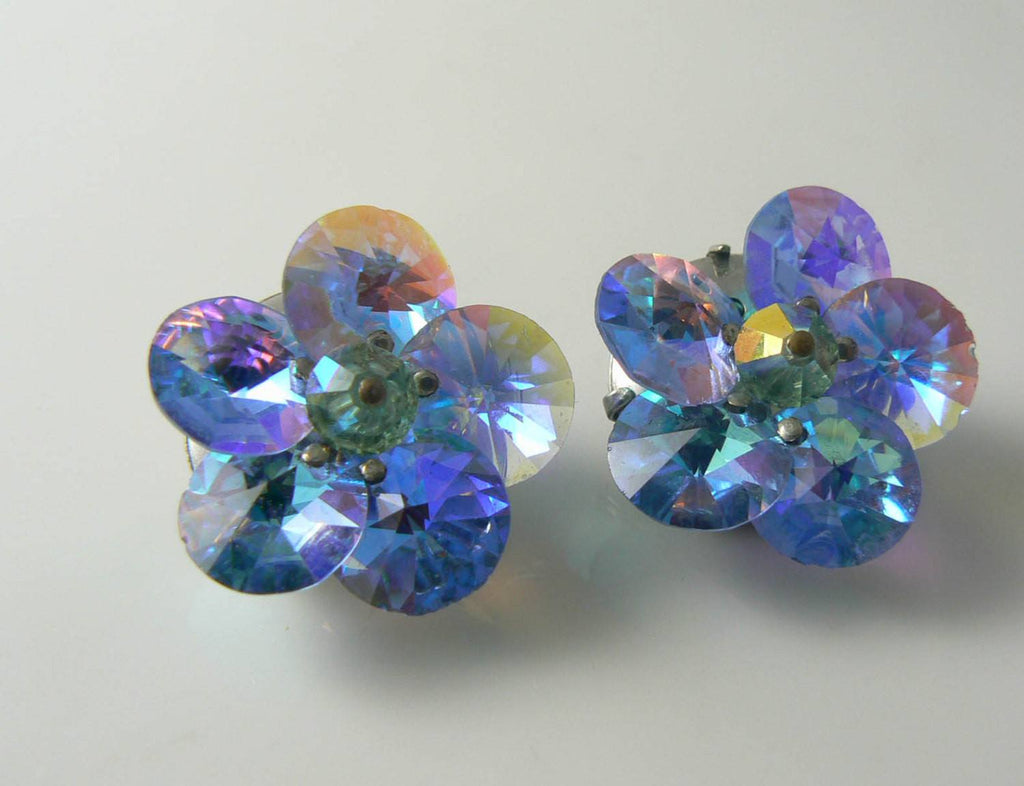Sky Blue Rivoli Earrings - Vintage Lane Jewelry